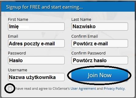 klikanie w reklamy - rejestracja w Clixsense