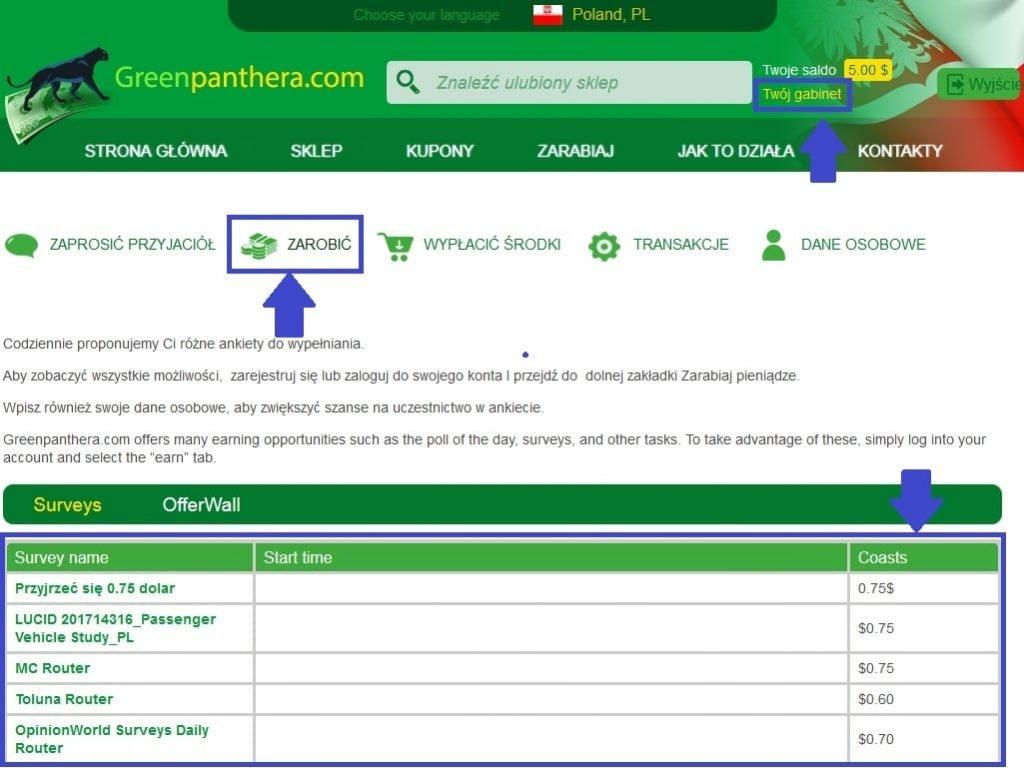 Greenpanthera - panel użytkownika