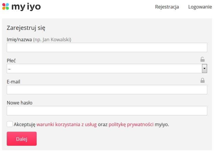 MYIYO - rejestracja