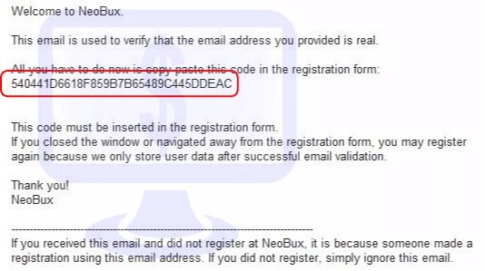 Neobux - email weryfikacyjny
